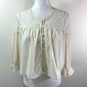 Free People Lace Peasant Blouse Cropped